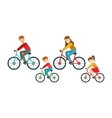 Parents And Kids Riding Bicycles In Park Happy vector image