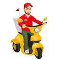 pizza delivery man driving yellow scooter vector image vector image