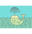 Postcard with cute careless whale baby swimming in vector image