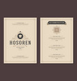 restaurant logo and menu cover design vector image vector image
