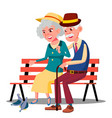 senior age family couple sitting on a bench and vector image