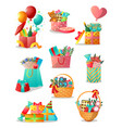 Set different colorful gift boxes or basket
