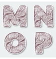 Set of capital letters M N O P from the vector image