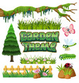 set of garden element vector image