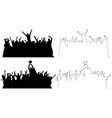 silhouettes of dancing peoples outline vector image
