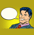 smiling businessman speech comics bubble vector image vector image