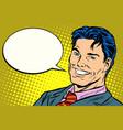 smiling businessman speech comics bubble vector image vector image