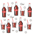 soda drink bottle and glass pattern summer vector image