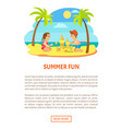 summer fun children on beach making sand castle vector image vector image