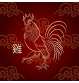 The symbol of the Chinese New Year Fiery Rooster vector image vector image
