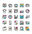 typography symbols color linear icon set vector image