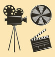 vintage camera tripod and film strip clapperboard vector image