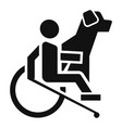 wheelchair man dog guide icon simple style vector image