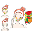 Young Woman With Fruits Facial Mask On Her Face vector image vector image
