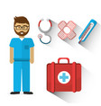 hospital doctor with his tools icon vector image