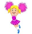 Cheerleader cartoon with Pom Poms vector image