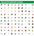 100 auto repair icons set cartoon style vector image vector image