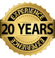 20 years experience golden label with ribbon vector image vector image