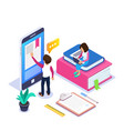3d isometric online learning or distance courses vector image vector image