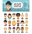 A set of 18 people characters in a flat style vector image vector image