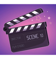 big clapper board on purple background vector image vector image