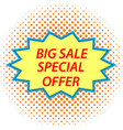 big sale sign in retro style vector image vector image