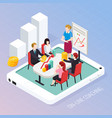 business coaching online isometric composition vector image vector image