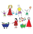 Childrens drawings with the family and the child vector image vector image