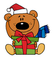 christmas bear holding a present vector image