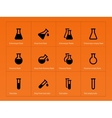 Conical flasks icons on orange background vector image vector image