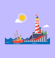 cool flat design fishing boat seaway vector image