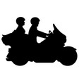 couple riding motorcycle silhouette vector image