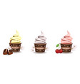 cupcakes set with vanilla frosting top vector image vector image