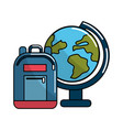 earth plenet desk with study bag vector image vector image