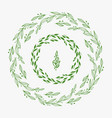 elegant green floral frame border or laurel wreath vector image