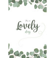 floral card with eucalyptus green leaves frame vector image vector image