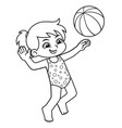 girl playing beach volley ball bw vector image vector image