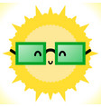 glasses and sun on white background vector image vector image