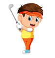 golfer hitting golf shot vector image