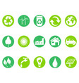 green eco button icons set vector image vector image