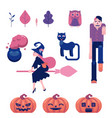 halloween symbols set with various funny and vector image vector image
