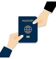 handing over a passport passport in hands vector image