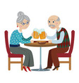 happy grandparents drink beer vector image vector image