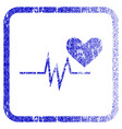 heart pulse signal framed textured icon vector image vector image