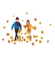 kids playing outdoors autumn happy fall vector image vector image