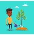 Man watering tree vector image