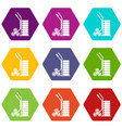 modern trolley icons set 9 vector image vector image