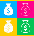 money bag sign four styles of icon vector image vector image