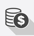 money icon with shadow on white background coins vector image