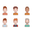people young men portrait male avatar set vector image